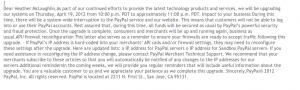 PayPal Maintenance: Data Center Upgrade – April 19, 2012 – Scam Email In Circulation Now
