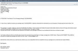 ATTENTION: Final Notice of Your Package with reg #: SA335493RDK – O'Hare Scam Email