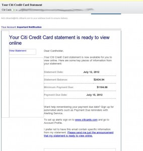 'Your Citi Credit Card Statement' – Email Alert